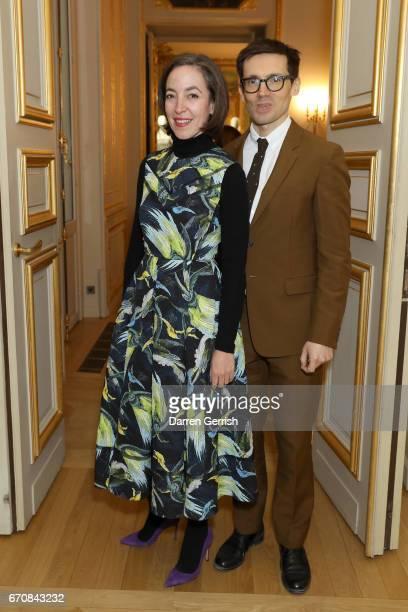 Pamela Golbin and Erdem Moralioglu attend the Erdem x MATCHESFASHIONCOM dinner to celebrate its exclusive collection at Hotel de La Salle on April 20...