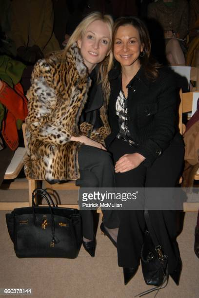 Pamela Gross Finkelstein and Bettina Zilkha attend Oscar de La Renta Fashion Show at Bryant Park Tents on February 9 2004 in New York City