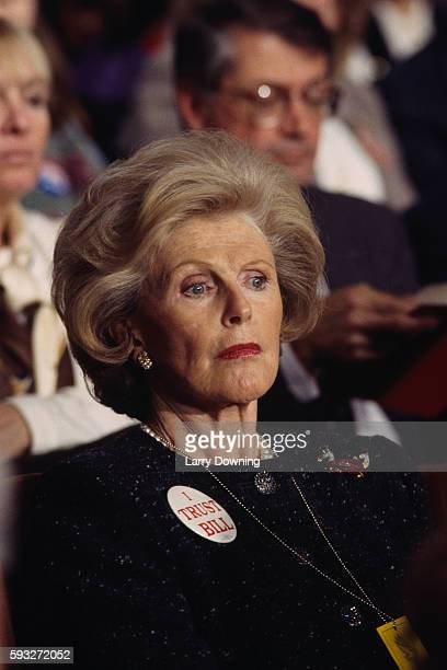 Pamela Harriman attends a debate during the 1992 Presidential election campaign