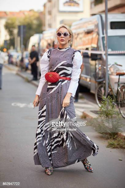 Pamela is seen wearing a Gucci bag during Milan Fashion Week Spring/Summer 2018 on September 24 2017 in Milan Italy