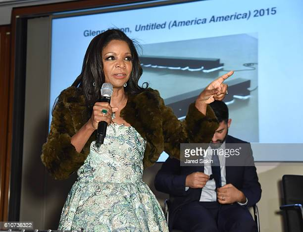 Pamela Joyner attends Abstracted Black Tie Dinner Hosted by Pamela Joyner Fred Giuffrida and the Ogden Museum of Southern Art to Celebrate the...