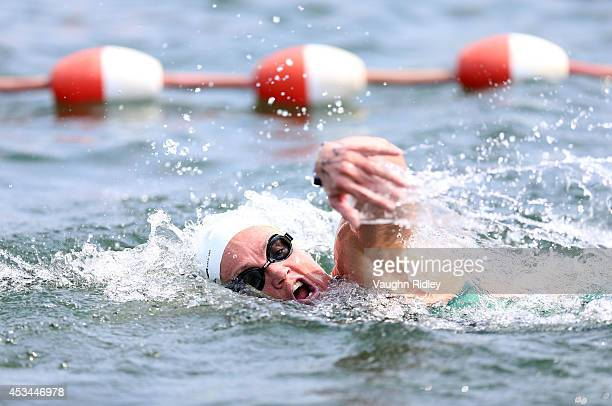 Pamela Nix of Australia competes in the Women's 4549 Age Group 3km swim during the 15th FINA World Masters Championships at Parc JeanDrapeau on...