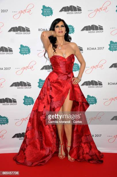 Pamela Prati walks the red carpet for 'Bent' on April 6 2017 in Rome Italy