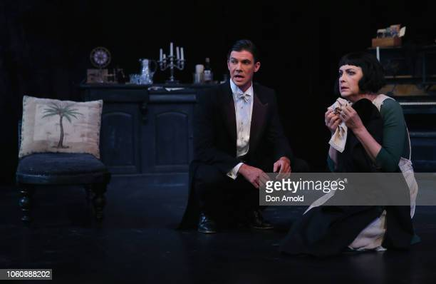 Pamela Rabe plays the role of Alice and Toby Schmitz the role of Kurt during a media call for The Dance Of Death at Belvoir Street Theatre on...