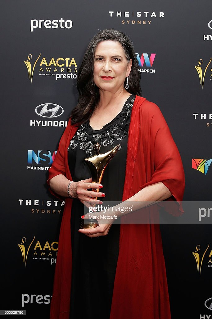 Pamela Rabe poses with an AACTA Award for Best Lead Actress in a Television Drama during the 5th AACTA Awards Presented by Presto at The Star on December 9, 2015 in Sydney, Australia.