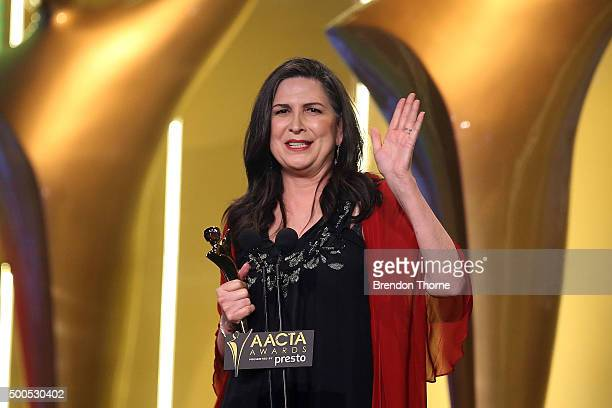 Pamela Rabe win the AACTA Award for Best Lead Actress in a Television Drama during the 5th AACTA Awards Presented by Presto at The Star on December 9...