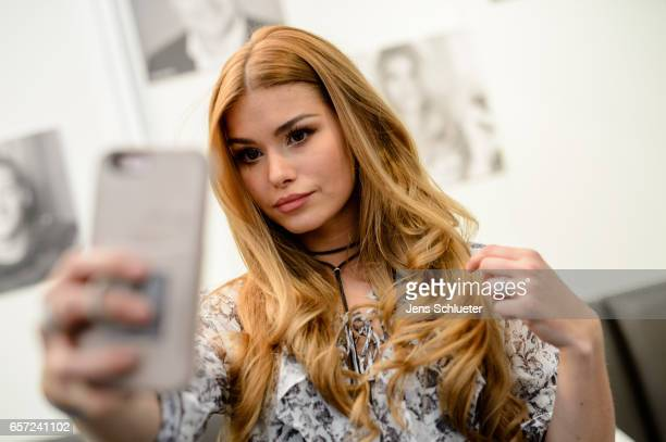 Pamela Reif a German model and social media star poses for an photo during the Leipzig Book Fair on March 24 2017 in Leipzig Germany From March 23 to...