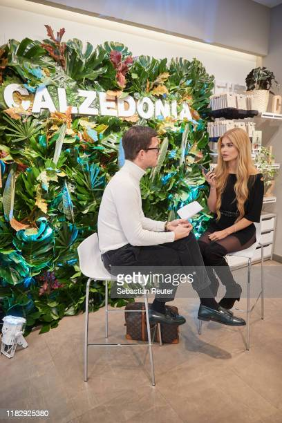 Pamela Reif is seen during an interview at the meet and greet with Pamela Reif during the presentation of Calzedonia's new Eco Line on October 23...