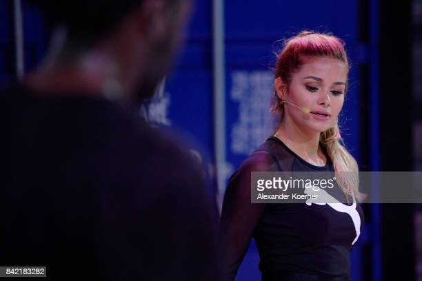 Pamela Reif present the Puma dance training during the Bread Butter by Zalando at arena Berlin on September 3 2017 in Berlin Germany
