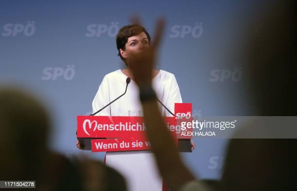 Pamela RendiWagner Head of the Social Democratic Party of Austria addresses an election rally of her party in Vienna Austria on September 27 2019...