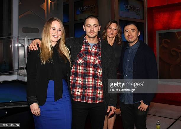Pamela Romanowsky, James Franco, Deirdre Bolton and Bruce Thierry at The FOX Business Network at FOX Studios on December 9, 2014 in New York City.