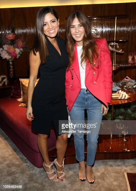 Pamela Silva and Lidia Pefaue are seen at the Alexandre Birman Bal Harbor Store Opening Event on November 8 2018 in Miami Florida