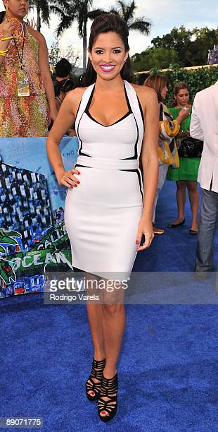 Pamela Silva arrives on the red carpet at the Univision's 2009 Premios Juventud Awards at Bank United Center on July 16 2009 in Coral Gables Florida