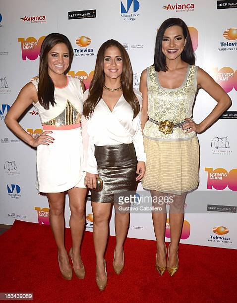 Pamela Silva Conde Jackie Guerrido and Candela Ferro attends Miami's 100 Most Influential Latinos at Miami Dade College on October 4 2012 in Miami...