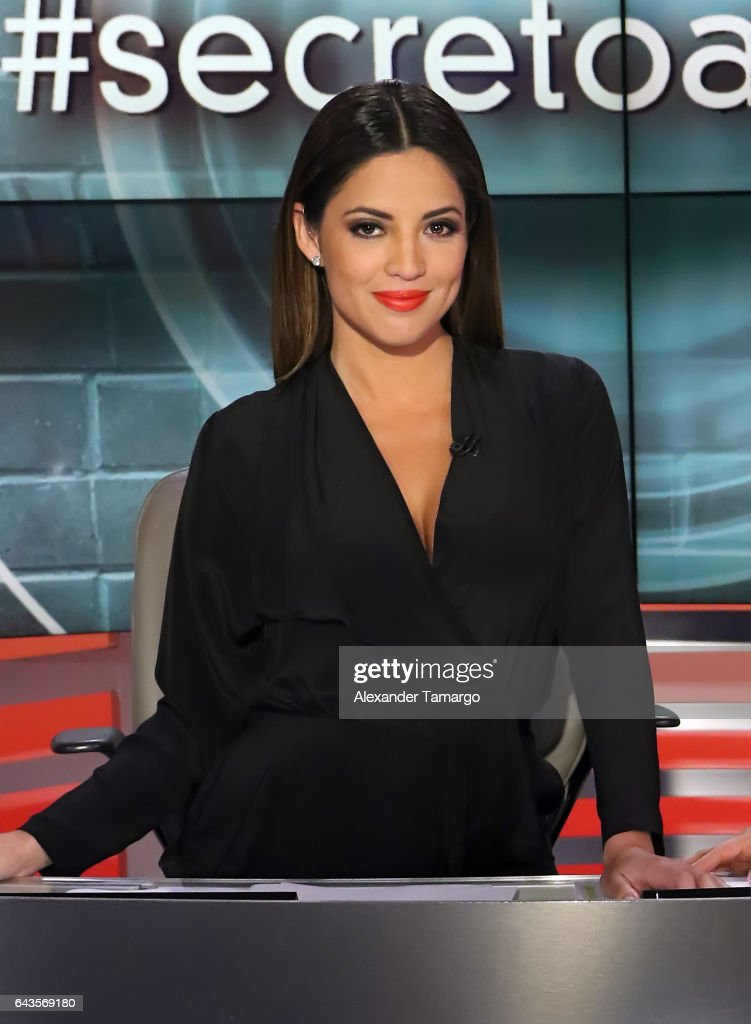 Pamela Silva is seen on the set of 'Primer Impacto' at Univision's Newsport Studios on February 21, 2017 in Miami, Florida.