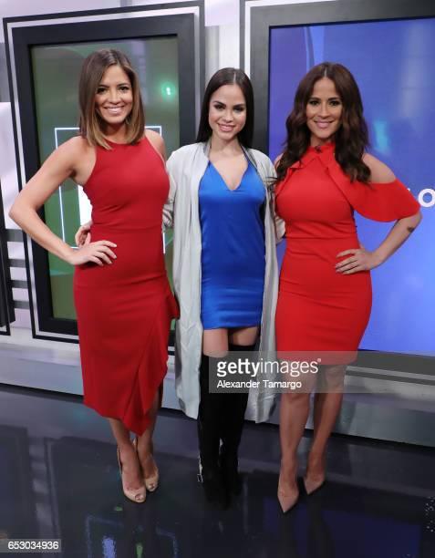 Pamela Silva Natti Natasha and Jackie Guerrido are seen on the set of 'Primer Impacto' at Univision's Newsport Studios on March 13 2017 in Miami...