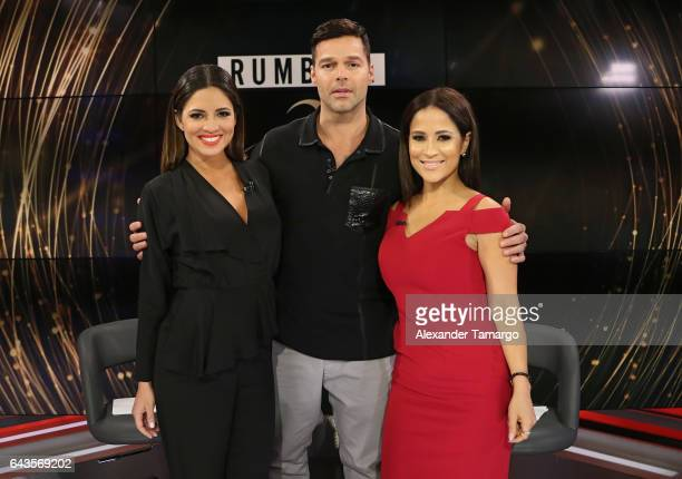"""Pamela Silva, Ricky Martin and Jackie Guerrido are seen on the set of """"Primer Impacto"""" at Univision's Newsport Studios on February 21, 2017 in Miami,..."""