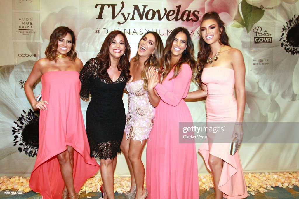 Pamela Silva-Conde, Alexandra Malagon, Catherine Siachoque, Gaby Espino and Zuleyka Rivera pose as part of TV y Novelas, 'Divinas y Humanas' special edition celebration on March 22, 2017 in San Juan, Puerto Rico.