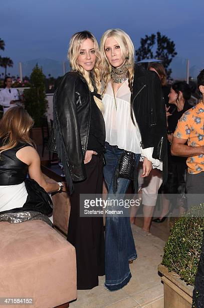 Pamela Skaist and Gela Nash attend Crystal Lourd and Jacqui Getty Welcome NETAPORTER's Sarah Rutson To LA at Sunset Tower Hotel on April 29 2015 in...