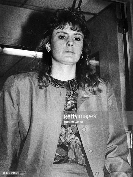 Pamela Smart enters the courtroom of the Rockingham Superior Court in Exeter NH after a break for lunch on March 14 1991 Smart is being tried on...