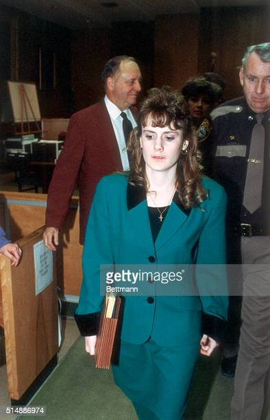Pamela Smart exits a Rockingham County courtroom after the second day of testimony in her own defense. Smart is on trial for allegedly conspiring...