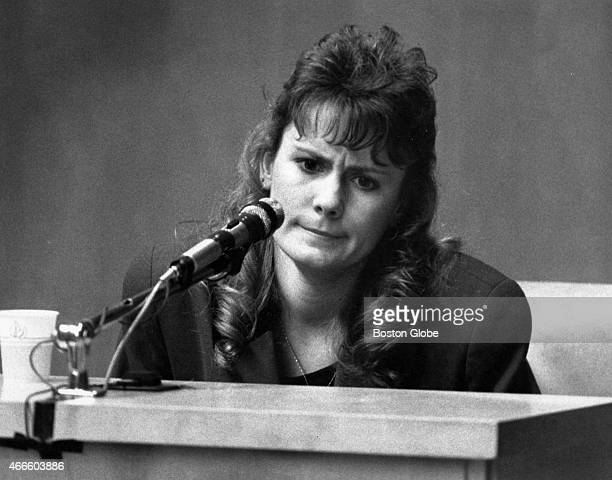Pamela Smart takes the stand at the Rockingham County Superior Court in Exeter, N.H. On March 19, 1991. Smart is being tried on charges of being an...