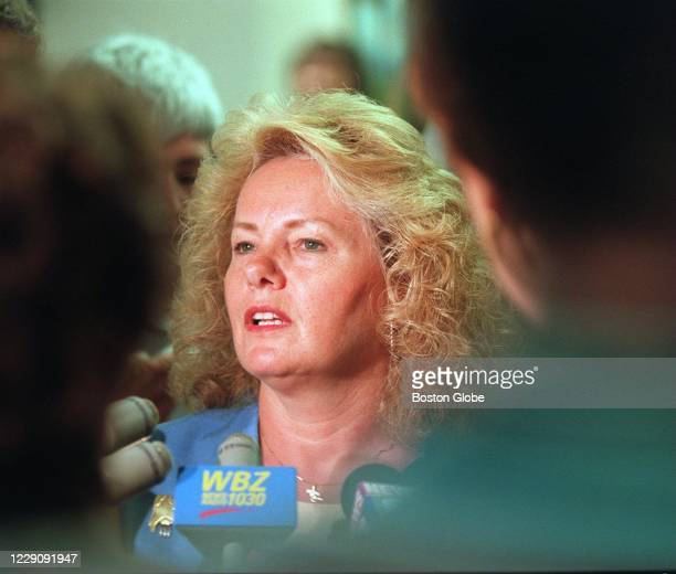 Pamela Smart's aunt, Sharon Gingras, talks with the media about the hearing at the Rockingham County Courthouse in Brentwood, NH on June 12, 1997....