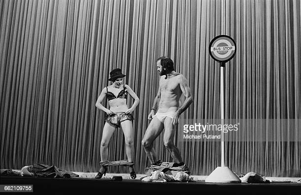 Pamela Stephenson and John Cleese performing the 'Clothes Off' sketch in 'The Secret Policeman's Other Ball' at the Drury Lane theatre London 9th...
