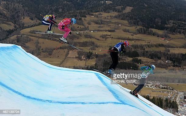 Pamela Thorburn of Great Britain Anna Holmlund of Sweden Sofia Smirnova of Russia and Heidi Zacher of Germany compete during the Women's Snow Ski...