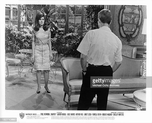 Pamela Tiffin is questioned in a scene from the film 'Harper' 1966