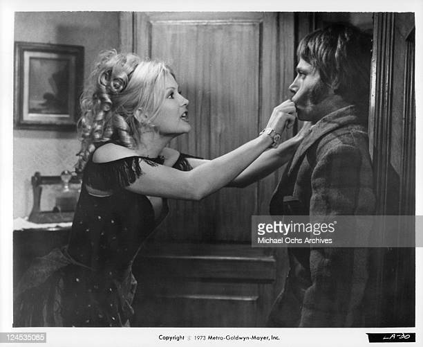 Pamela Tiffin pulls mouth of Franco Nero in a scene from the film 'Deaf Smith And Johnny Ears' 1973