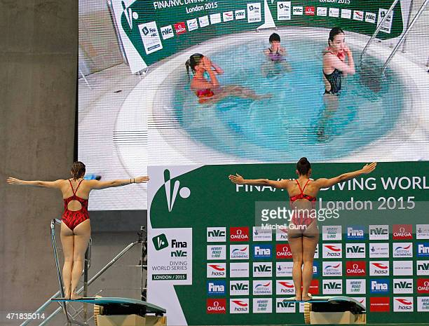 Pamela Ware and Jennifer Abel of Canada during day one of the FINA/NVC Diving World Series 2015 at the London Aquatics Centre on May 01 2015 in...