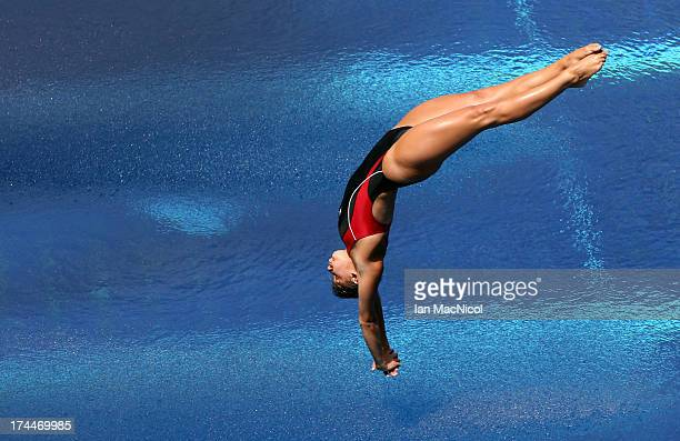 Pamela Ware of Canada competes in the Semi Final of The Women's 3m Springboard at The Piscina Municipal De Montjuic on day seven of the 15th FINA...