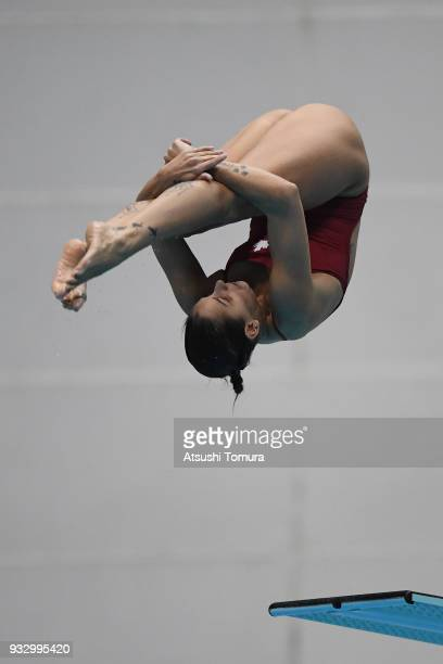 Pamela Ware of Canada competes in the Women's 3m Springboard final during day three of the FINA Diving World Series Fuji at Shizuoka Prefectural Fuji...