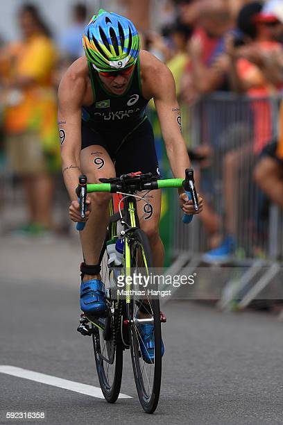 Pamella Oliveira of Brazil runs during the Women's Triathlon on Day 15 of the Rio 2016 Olympic Games at Fort Copacabana on August 20 2016 in Rio de...