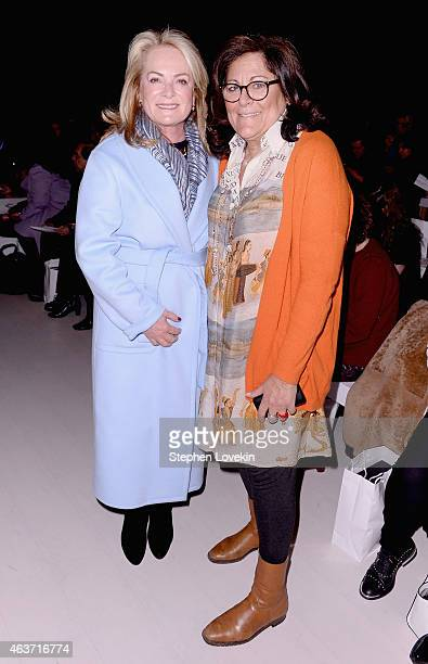 Pamella Roland and Fern Malis attend the Zang Toi fashion show during MercedesBenz Fashion Week Fall 2015 at The Salon at Lincoln Center on February...