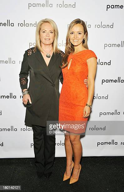 Pamella Roland and Nicole Lapin pose backstage at the pamella roland Spring 2014 fashion show during MercedesBenz Fashion Week on September 9 2013 in...