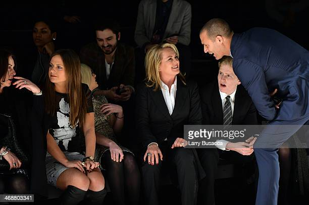 Pamella Roland and Nigel Barker observe a rehearsal before the Pamella Roland fashion show during MercedesBenz Fashion Week Fall 2014 at The Salon at...