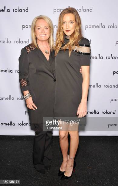 Pamella Roland and Perrey Reeves pose backstage at the pamella roland Spring 2014 fashion show during MercedesBenz Fashion Week on September 9 2013...