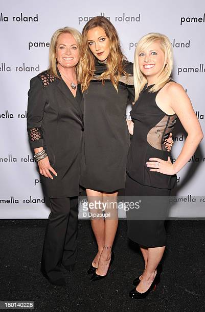 Pamella Roland Katie Cassidy and Sydney De Vos pose backstage at the pamella roland Spring 2014 fashion show during MercedesBenz Fashion Week on...