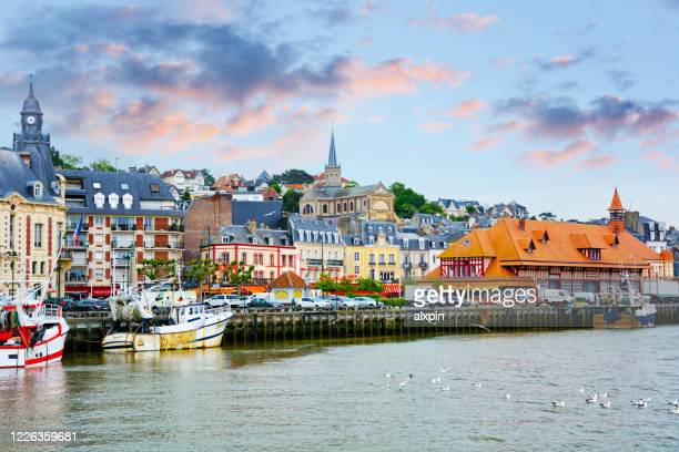pamorama of trouville-sur-mer - trouville sur mer stock pictures, royalty-free photos & images