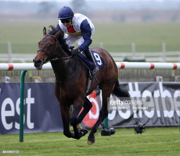 Pampas Cat ridden by Jockey Jimmy Fortune wins the Federation of Bloodstock Agents Maiden Stakesat Newmarket Racecourse