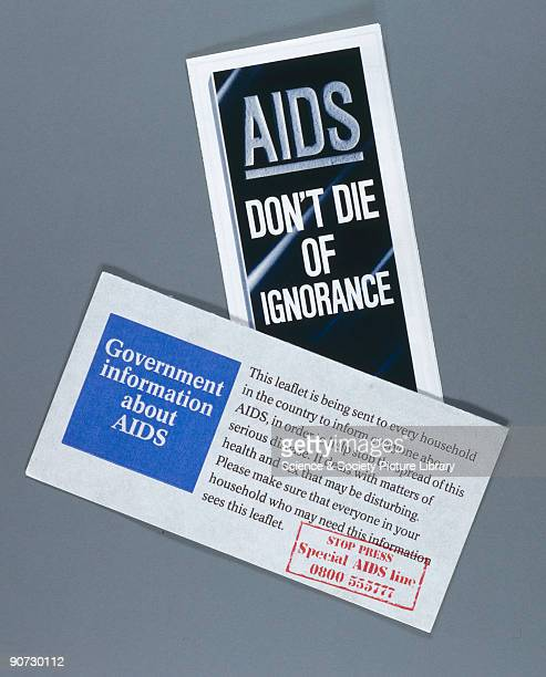 Pamphlet titled 'AIDS Don't Die of Ignorance' and envelope marked 'Government Information about AIDS' Scientists believe that HIV could have spread...