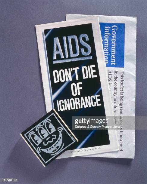 Pamphlet titled 'AIDS Don't Die of Ignorance' envelope marked 'Government Information about AIDS' and condom box by Keith Haring The AIDS epidemic...