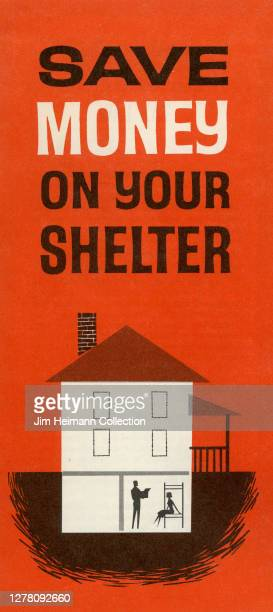 """Pamphlet titled """"Save Money on Your Shelter"""" shows an illustration of a house with a bomb shelter built into the ground beneath it, circa 1961."""