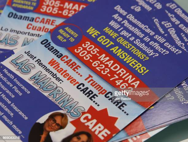 Pamphlets advertising for the Affordable Care Act are seen at Sunshine Life and Health Advisors store setup in the Mall of Americas on November 1,...