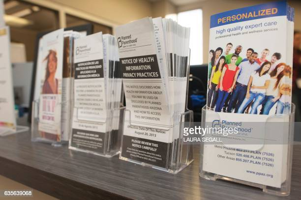 Pamphlets are seen on the counter at the Planned Parenthood Central Phoenix Health Center in Phoenix Arizona on February 2 2017 / AFP / Laura Segall...