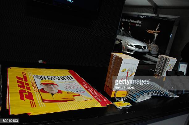 DHL pamphlets on display at the DHL booth during MercedesBenz Fashion Week held at Smashbox Studios on March 11 2008 in Culver City California