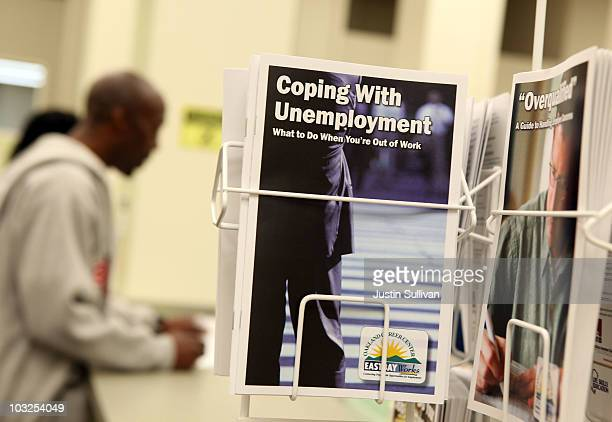 Pamphlets with information about unemployment are displayed at Eastbay Works Oakland One-Stop Career Center August 5, 2010 in Oakland, California....