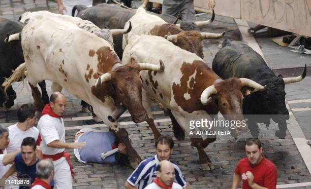 A man protects himself as bulls run over him during the fifth encierro of the San Fermin festivities 11 July 2006 in Pamplona northern Spain AFP...